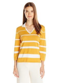 Anne Klein Women's Collared tripe weater Top  mall