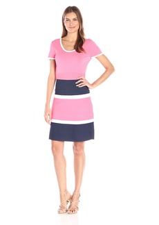 Anne Klein Women's Color Block Fit and Flare Knit Dress