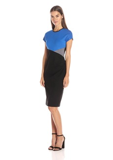 Anne Klein Women's Color Block Side Draped Dress
