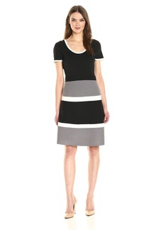 Anne Klein Women's Colorblock Skirt Knit Dress  L