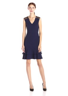 Anne Klein Women's Combo Double Flounce Dress with Mesh