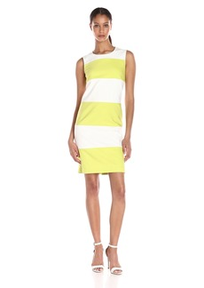 Anne Klein Women's Cotton Color Blocked Shift Dress
