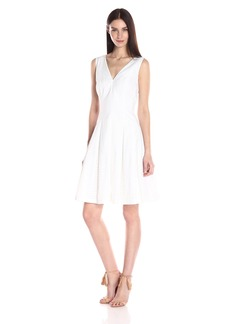 Anne Klein Women's Cotton Eyelet Striped Vneck Fit and Flare Dress