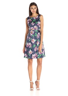 Anne Klein Women's Cotton Floral Printed Fit-and-Flare Dress with Belt