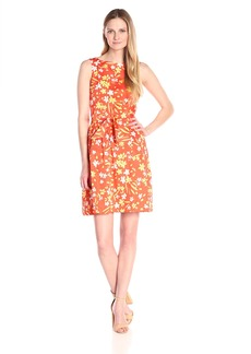 Anne Klein Women's Cotton Printed Fit-and-Flare Dress With Belt