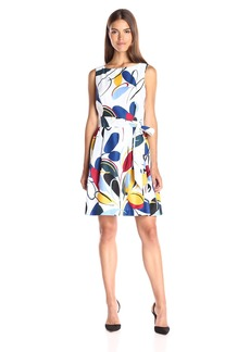 Anne Klein Women's Cotton Sateen Printed Fit and Flare