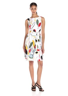 Anne Klein Women's Cotton Sateen Printed Fit and Flare Dress