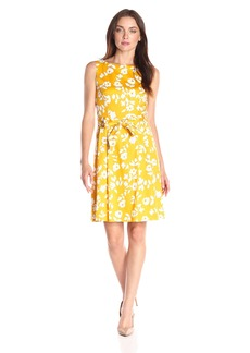 Anne Klein Women's Cotton Sateen Printed Self Sash Fit and Flare Dress