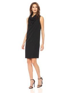 Anne Klein Women's Cowl Neck Sheath Pinstripe Print Dress  M