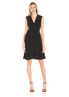 Anne Klein Women's Crepe and Sequin Lace Mesh Double-Flounce Dress