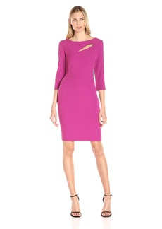 Anne Klein Women's Crepe Cutout Sheath Dress with Three-Quarter Sleeves