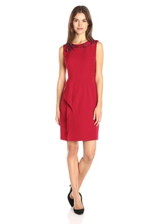 Anne Klein Women's Crepe Embellished Sheath Dress with Ruffle