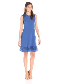 Anne Klein Women's Crepe Fit and Flare Sleeveless Dress with Lace Inserts