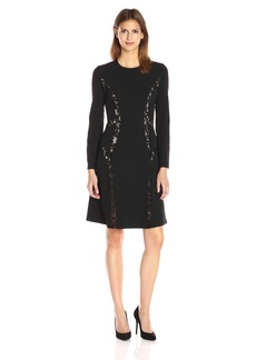 Anne Klein Women's Crepe/ Lace Combo Cowl Neck Fit and Flare