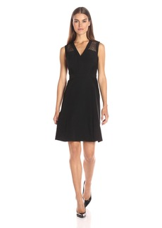Anne Klein Women's Crepe/ Lace Combo Neck Fit and Flare