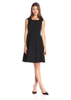 Anne Klein Women's Crepe Pearl Edge Seamed Fit and Flare Dress