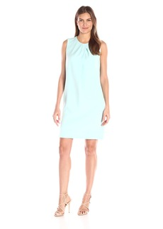 Anne Klein Women's Crepe Pleast Neck Shift Dress