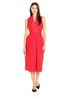 Anne Klein Women's Crepe-Satin Shawl Collar V-Neck Pleat Front Dress
