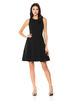 Anne Klein Women's Crepe Seamed Fit and Flare Dress