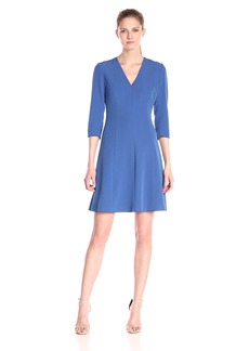Anne Klein Women's Crepe V-Neck Three-Quarter-Sleeve Fit-and-Flare Dress