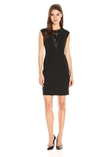 Anne Klein Women's Crepe with Lace Insert V-Neck Sheath Dress