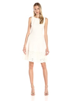 Anne Klein Women's Crepe/Lace Combo Boat Neck Drop Waist Fit and Flare Dress