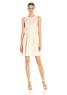 Anne Klein Women's Crew Neck Lace Fit and Flare with Asymetrical Crepe Hem