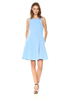 Anne Klein Women's Crew Neck Seamed Fit and Flare Dress-Crepe