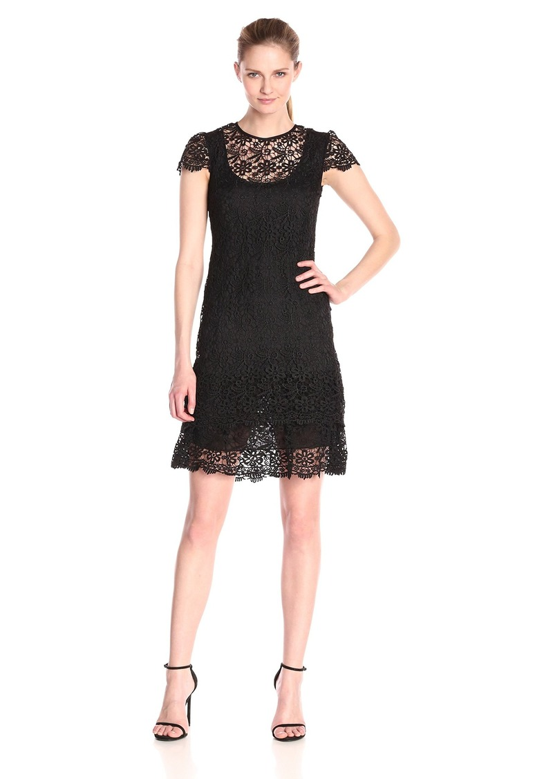 Anne Klein Women's Crochet Lace Tiered Dress