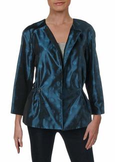 Anne Klein Women's Cropped Open Front Jacket Juniper/fir M