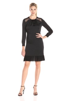 Anne Klein Women's Crushed Satin Combo Dress with Lace Shoulder Trim