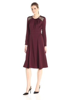 Anne Klein Women's Crushed Satin Lace Insert Detail Fit and Flare Dress