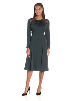 Anne Klein Women's Crushed Satin Lace Insert Detail Fit and Flare Long Sleeve Dress
