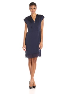 Anne Klein Women's Crushed Satin V-Neck Pleat Neck Combo Dress