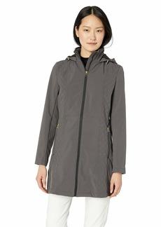 Anne Klein Women's Diamond Rain Softshell Coat with Hood CHRC MED