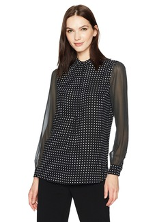 Anne Klein Women's Dot Print Long Sleeve Blouse  M