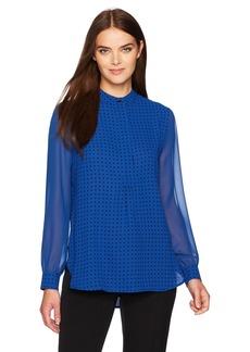 Anne Klein Women's Dot Print Long Sleeve Blouse  S