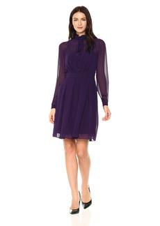 Anne Klein Women's Dot Print Ruffle Front Dress