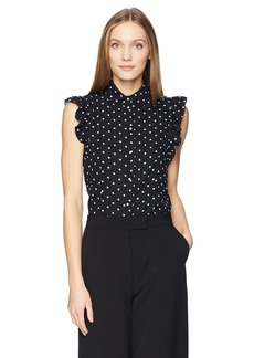 Anne Klein Women's Dot Ruffle Sleeve Blouse