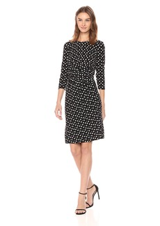 Anne Klein Women's DOT Twist Front Draped Dress