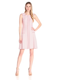 Anne Klein Women's Dotted Jacquard Drop-Waist Seamed Fit-And-Flare Dress