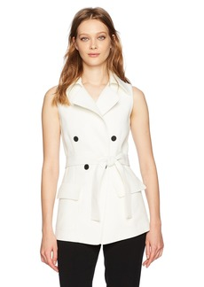 Anne Klein Women's Double Breasted Vest with Waist Belt