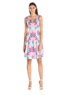 Anne Klein Women's Double V-Neck Printed Cotton Fit and Flare Dress