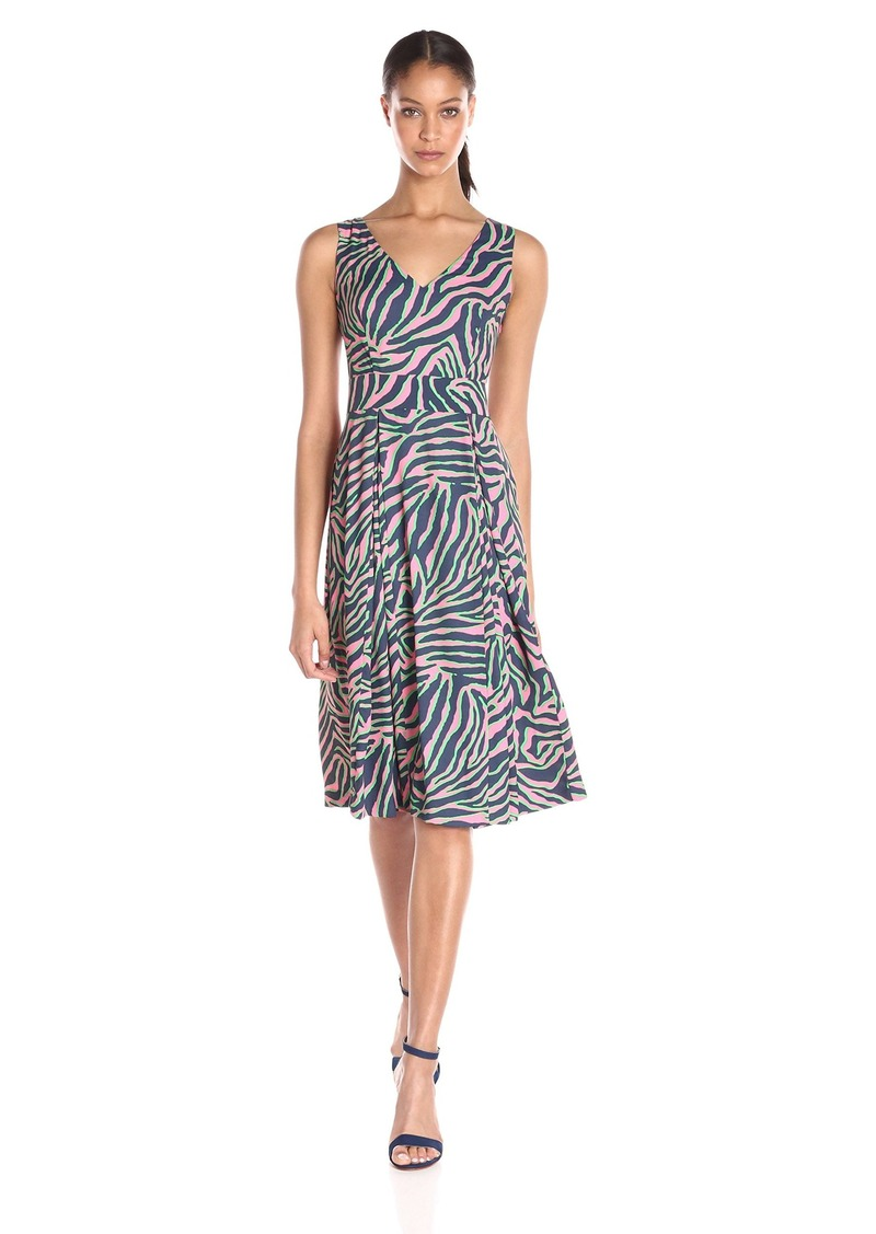 Anne Klein Women's Draped Dress with Pleat Front and Double Vneck