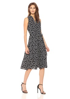 Anne Klein Women's Drawstring Midi Dress Printed with Lining  M