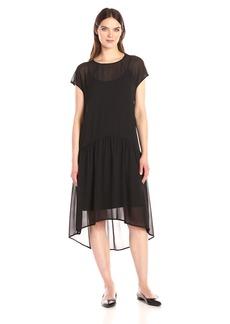 Anne Klein Women's Dropped Waist Solid Georgette T-Shirt Dress