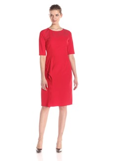 Anne Klein Women's Elbow Sleeve Sheath Dress with Asymetrical Ruffle