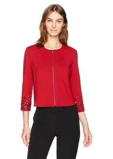 Anne Klein Women's Embelished Sleeve Zip Front Jacket titian Red M
