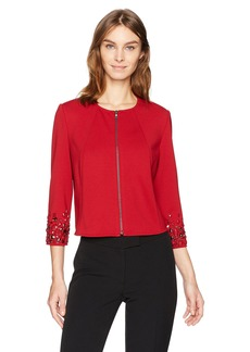 Anne Klein Women's Embelished Sleeve Zip Front Jacket Titian RED S