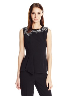 Anne Klein Women's Embellished Cascade Front Blouse